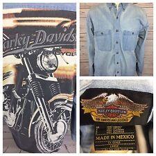 Harley Davidson Motorcycle Denim Jean Long Sleeve Shirt HUGE Graphic Logo. Large