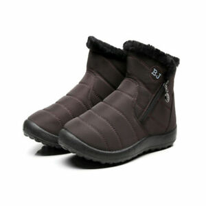 Women Faux Fur Lined Winter Warm Ankle Snow Boots Casual Comfort Flat Shoes Size