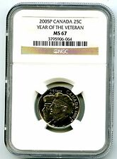 2005 P CANADA 25 CENT NGC MS67 YEAR OF THE VETERAN QUARTER TOP GRADE REGISTRY