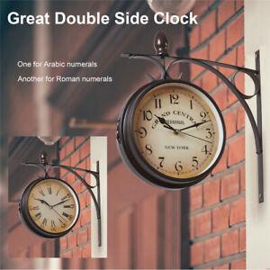 Large Wall Clock Double Sided Paddington Station Retro Hanging Bracket Outdoor