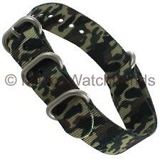 22mm Hadley Roma Mens Jungle Camo Nylon Waterproof Sport Wrap Watch Band