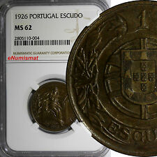 Portugal 1926 Escudo NGC MS62 KEY DATE. HIGH GRADED-  RARE KM# 576