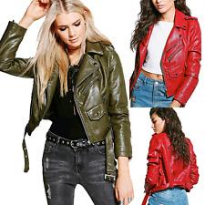 Ladies Womens crop Leather Look belted biker jacket 8A073
