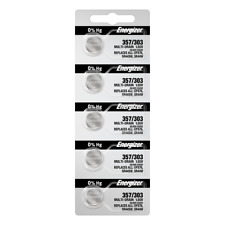 Energizer 357/303 Silver Oxide Coin Cell Batteries 5 Pack Tear Strip(new)