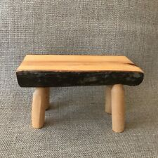 Half log doll/fairy bench, wood, solid vintage bench 3 x 7 x 4, fairy garden
