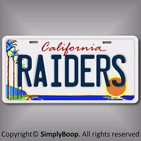 Oakland Raiders NFL AFC West Team Aluminum License Plate Tag California  L A