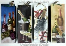 4 Paper Gift Bags Wine Liquor Bottles Assorted Colors/Designs NEW
