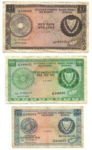 CYPRUS SET: 250 & 500 Mils + 1 Lira/Pound (1975-1979) P-41 42 43 aVF Banknotes