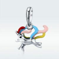 925 Sterling Silver Beautiful unicorn Pendant Charm for Women Bracelet Necklace