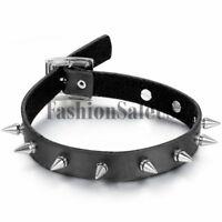 Punk Gothic Women Unique Black Leather Choker Spike Rivet Buckle Collar Necklace
