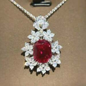 Modern Engagement Cluster Halo Pendant Without Chain 14K White Gold 2.11 Ct Ruby