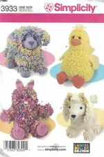 Loopy Animals 15 in Tall Simplicity 3933 Bunny Duck Dog Poodle Patterns Uncut
