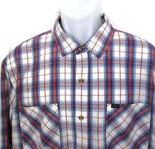 Men's Obey Propaganda Plaid Cotton Button Up Long Sleeve Red White Blue Shirt XL