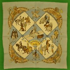 Hermes Silk 'Musee` Vivant du Cheval' Chantilly Pocket Sq