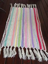 """Vintage Hand Crocheted Afghan Multicolor 38"""" X 58"""" With Fringe"""
