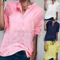 Women Cotton Vintage Embroidered Shirt Tops Hollow Out Solid Loose Blouse Shirt
