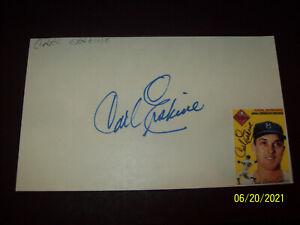 Carl Erskine signed 3x5