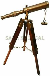 Antique Brass Marine Telescope With Collectible Wooden Tripod Stand Vintage Gift