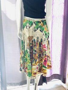 Monica •Paris• Womens Skirt• Sz M• Mexican Village Print• Sequins•bohemian•