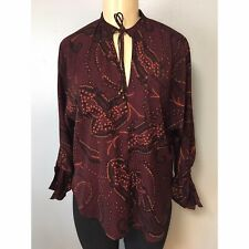 Abercrombie fitch Womens Printed Silky Top Blouse Size XS NWOT $58 Burgundy Boho