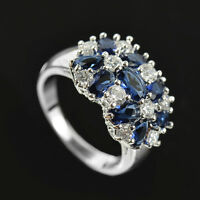 925 Silver Jewelry Blue & White Sapphire Gorgeous Wedding Ring Size 6-10
