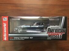 AUTO WORLD 1/18 AMERICAN MUSCLE 1967 BLACK CHEVY CORVETTE 427 F/S ITEM  # 1004