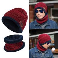 Homme Femme Set Bonnet + Écharpe Cache-cou Chapeaux Tricoté Crochet Chaud Hiver