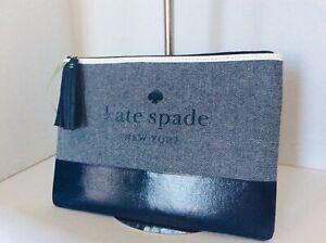 NWT KATE SPADE ASH STREET LOGO LARGE TASSEL POUCH BLAZER BLUE WLRU5328