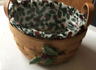 1993 Longaberger Button Basket with Christmas Berry Liner, Protector, Tie-on