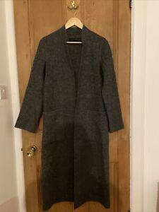 Zara Boiled Wool Long Open Jacket Coat Handmade Womens XS