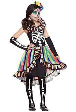 Women Girls Day of the Dead Scary Skeleton Skull Halloween Fancy Dress Costume