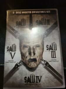Saw 5 Disc Unrated Director's Cut Collector's Set (DVD, 2008) Uncut Version