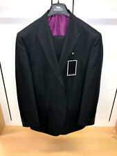 BNWT Sean John 42L Quality Black Tiny Pinstripes 3PC Vested Solid Suit Designer