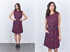 Vintage 80s Red + Green Plaid Print Dress A Line Sleeveless Medium M