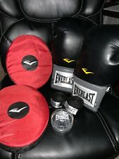 Everlast boxing kit w/ gloves, wraps, pads, and mouth guard