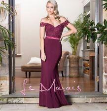 LE MARIAS sz 16 Off Shoulder Maroon Formal Maxi Dress