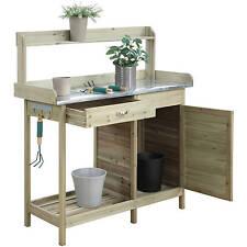Potting Bench Table Cabinet Outdoor Garden Wood Plant Storage Station Yard Shelf