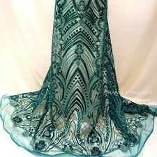 Green Mesh W/Green Sequins Lurex Embroidery Lace Fabric 51''/ Yard Formal Event