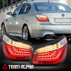 Fits 2008-2010 BMW E60 5-Series{NEON TUBE LED BAR}Red/Clear Rear Tail Light Lamp