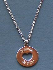 pendentif acier rond et coeur gravé personnalisé  fête des mères maman je t'aime