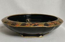 Crown Ducal Black Gold Chintz Art Deco Bowl Rounded Rim 1920s Egyptian Style