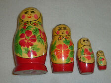 Vintage Russia Ussr Wooden Nesting Wooden Doll Toy Russian Set Of 4 Dolls