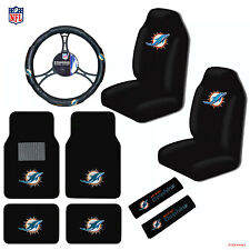 9pcs Set NFL Miami Dolphins Seat Covers Floor Mats Steering Wheel Cover