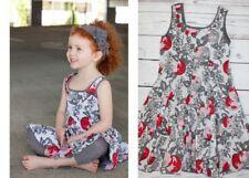 Eliane et Lena Boutique Virtuelle Apple Gray Red Paris Floral Dress Girl Size 10