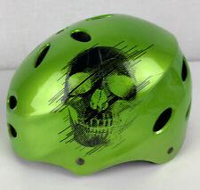Razor V-17 Child Multi-Sport Bike Scooter Helmet Green Kids Medium Skull