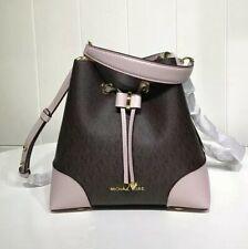 Michael Kors 100% Mercer Gallery MK Logo Brown Pink Bucket Shoulder Bag TAGS NEW