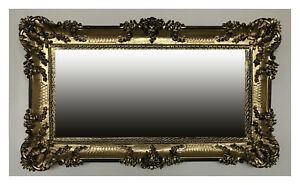 Large Baroque Wall Mirror Baroque Mirror Antique Ornamentation Gold Black 96x57