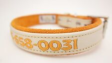 Leather Dog Collar One Inch Width Personalized Adjustable Custom Colors and Size