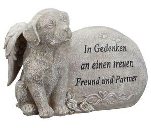 Grabstein Hund mit Engelsflügeln und Spruch in Grau 17 cm Figuren Grabdeko