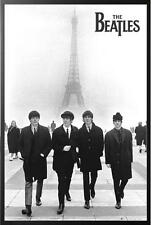 THE BEATLES IN PARIS POSTER FRAMED in Premium Black Wood Frame, Size 24x36